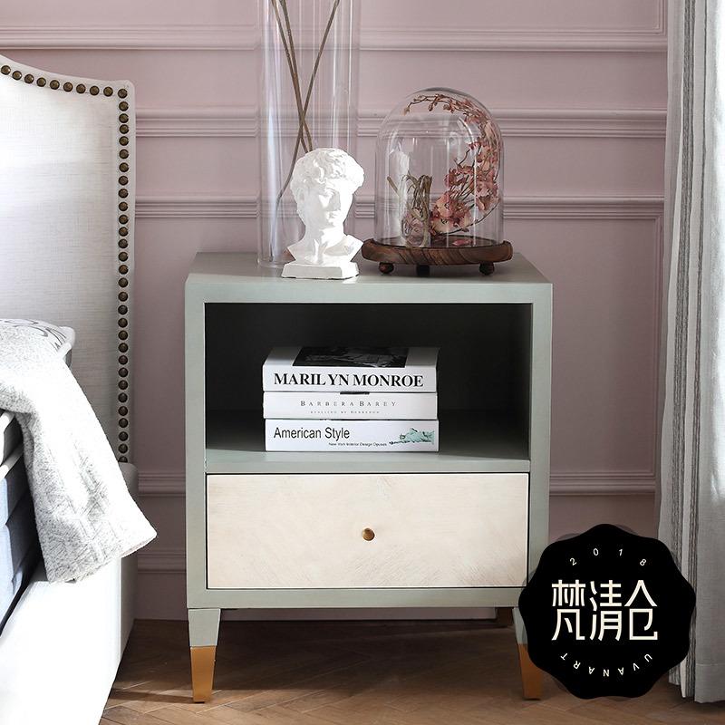 优梵艺术 Light现代卧室床头柜储物床边简约小户型实木脚抽屉角柜