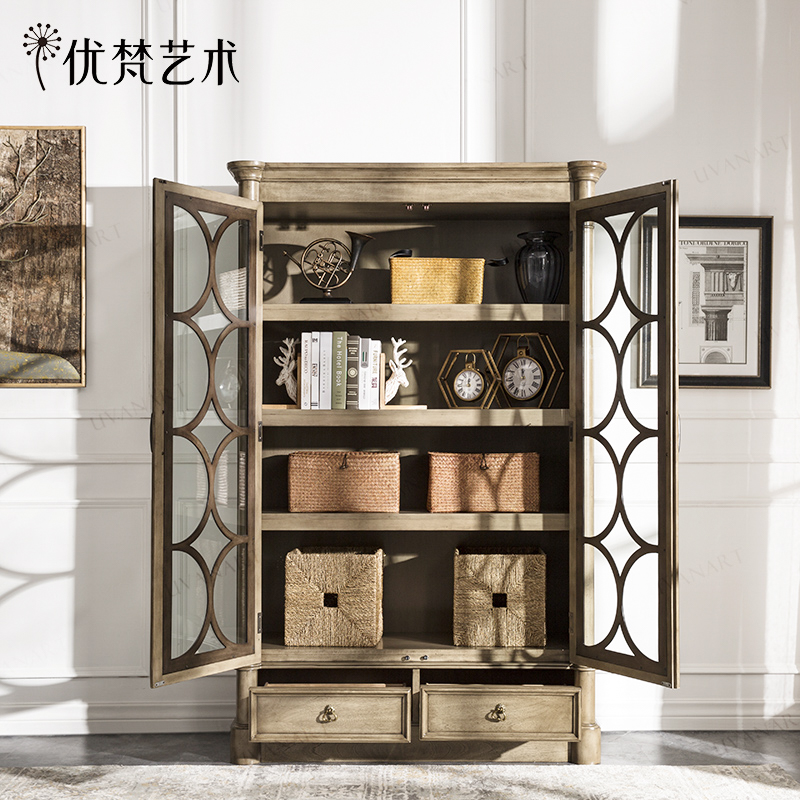 优梵艺术Taeuber美式木质书柜子门厅储物收纳带玻璃门书橱展示柜