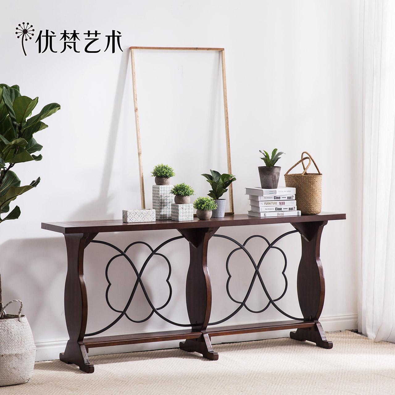 优梵艺术Tbilis美式实木脚玄关台客厅边几桌铁艺墙边桌案台桌简约