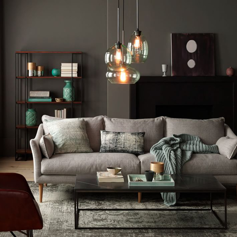 北欧时尚单双三人位美式沙发组合客厅整装家具小户型布艺沙发乳胶