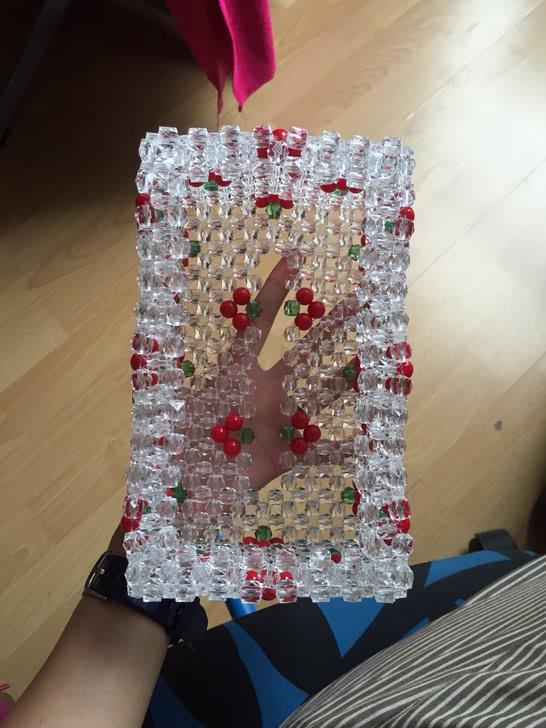 纯手工编织樱桃珠子纸巾盒