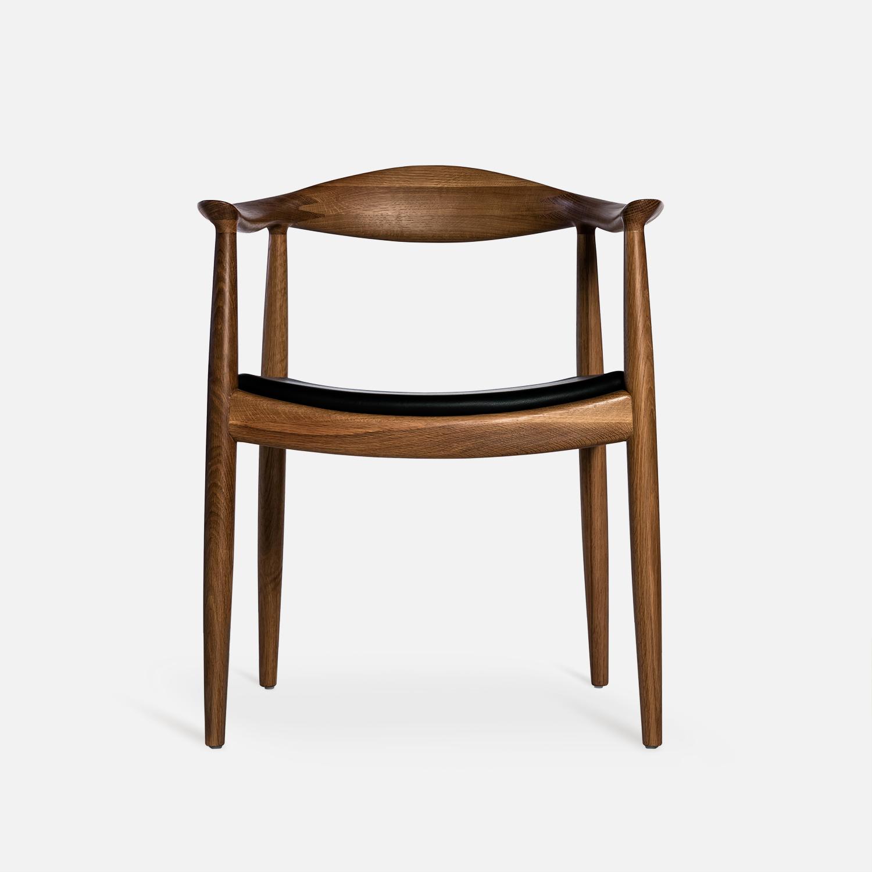 及木 现代简约 书房椅子 肯尼迪总统椅 黑胡桃 实木真皮餐椅YZ002