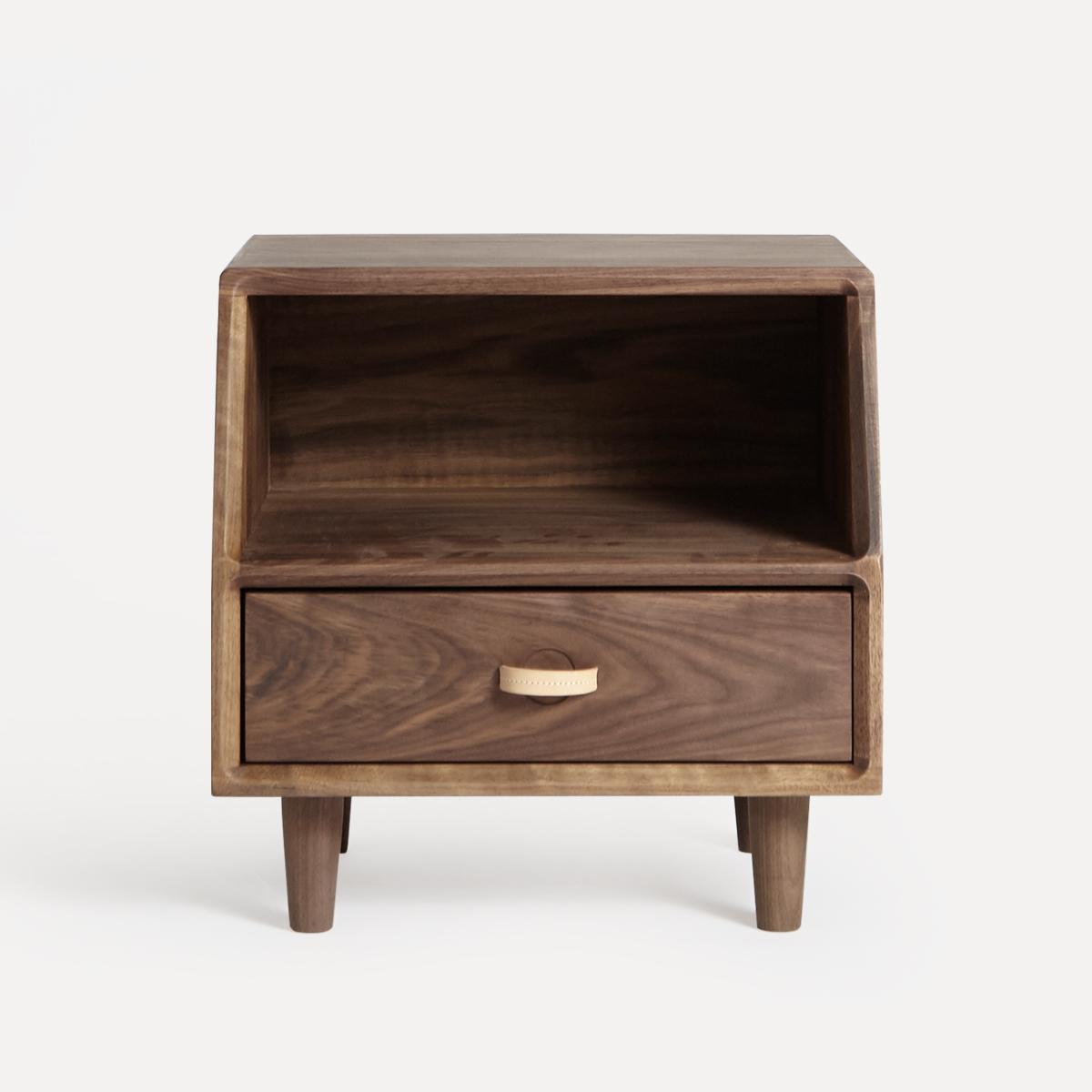 及木家具 北欧简约设计 床边柜 榉木 白橡 黑胡桃实木床头柜CG007