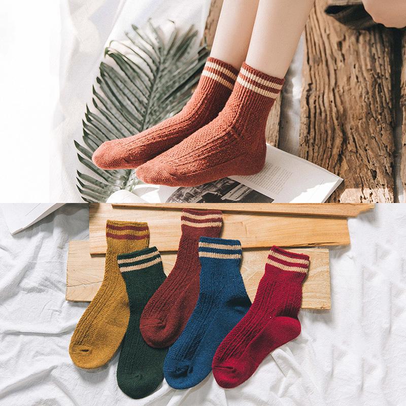 堆堆袜羊毛袜女士纯棉韩国中筒秋冬学院风日系复古加厚冬季毛线袜