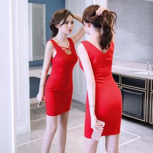 实拍女装2018新款潮夏装性感复古包臀裙子气质冷淡风连衣裙