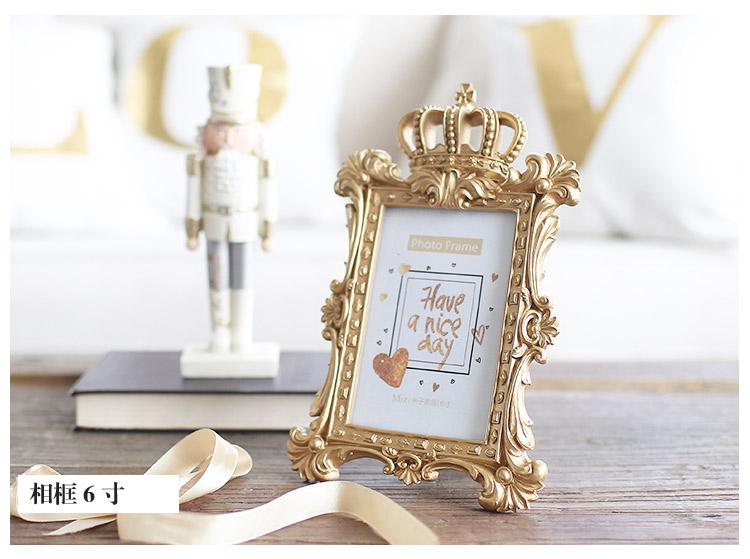 原创设计欧式巴洛克相框 3寸6寸7寸浮雕宫廷奢华亮金色摆台像框图片