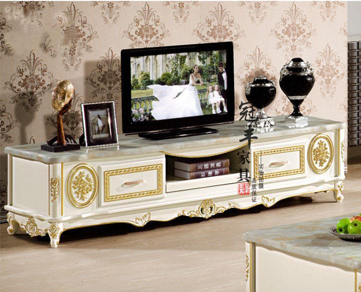欧式电视柜大理石电视柜现代简约实木电视柜烤漆描金
