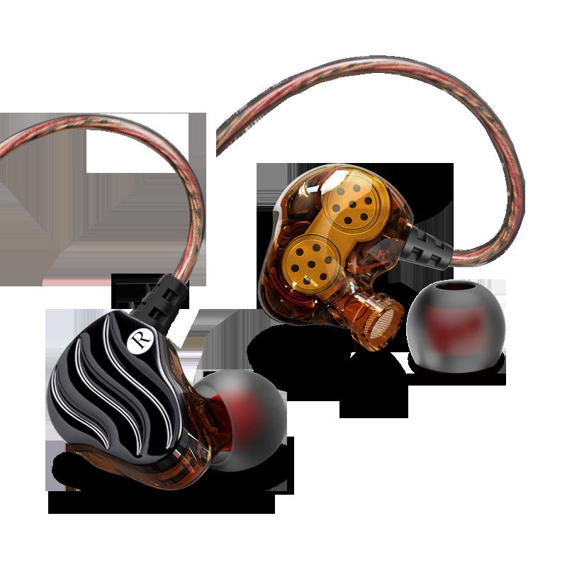沃野 KD4双动圈主播耳机入耳式 HIFI重低音炮监听通用线控带麦K歌