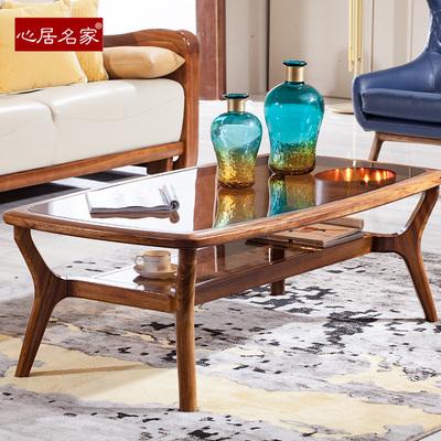 心居名家 乌金木茶几钢化玻璃进口优质乌金木北欧实木客厅家具