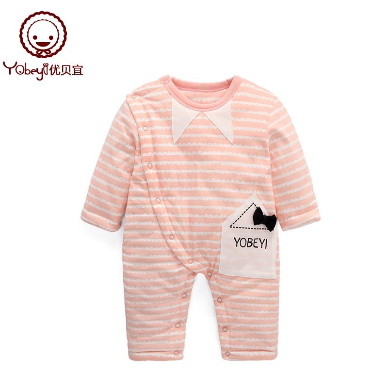 优贝宜 婴儿连体衣加厚冬季款 宝宝哈衣外出抱衣 新生儿冬装衣服