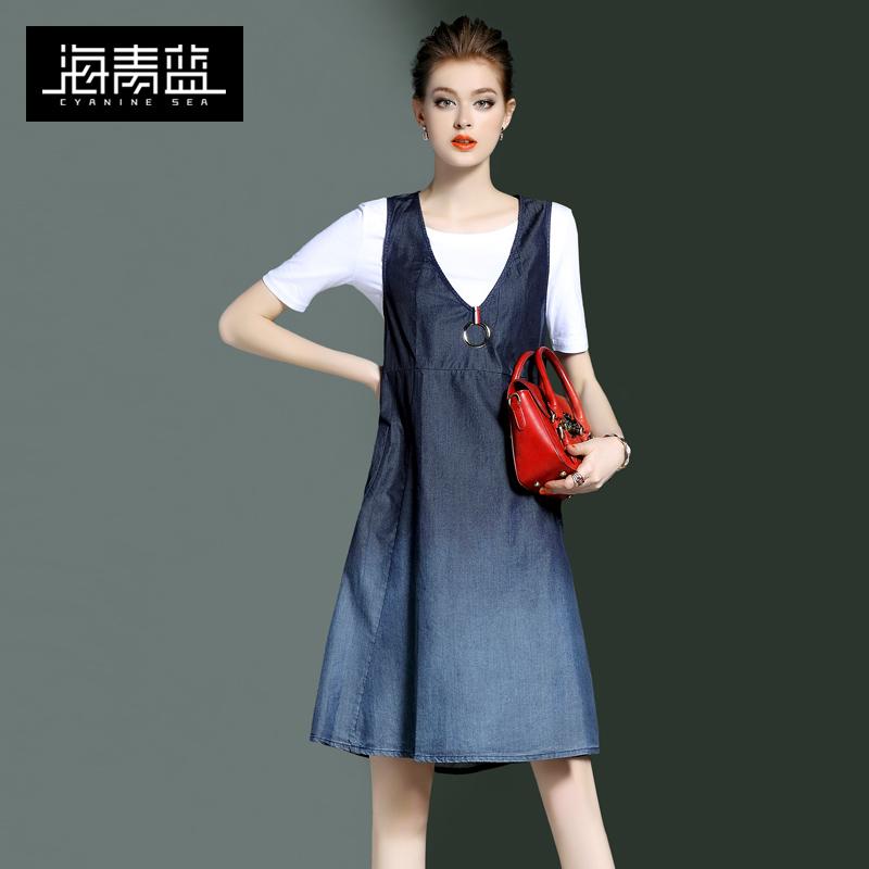 海青蓝2018夏季新款女装时尚短袖T恤牛仔背带裙气质两件套装01057