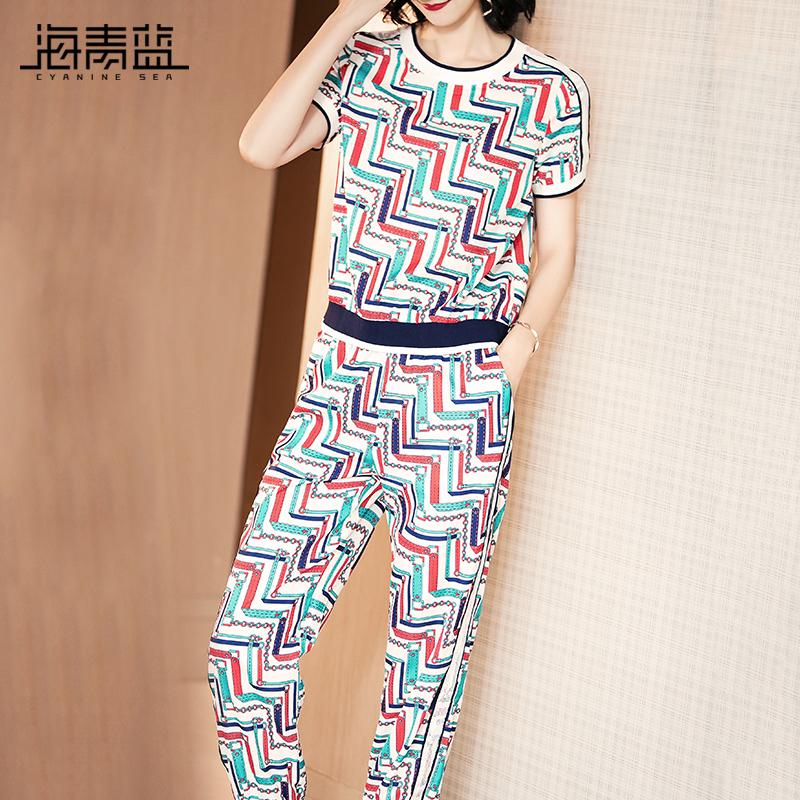 海青蓝2018夏季新款时尚个性印花上衣修身小脚裤运动套装女01861