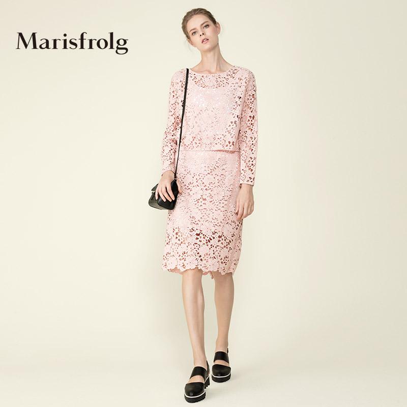 Marisfrolg-玛丝菲尔旗舰店女装时尚蕾丝镂空棉质半身裙专柜正品