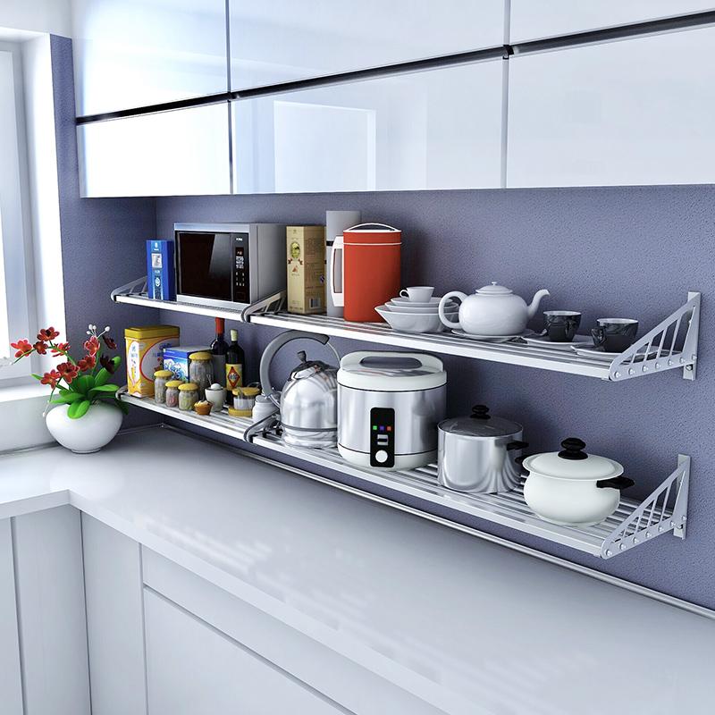 厨房置物架壁挂 304不锈钢调味料墙上收纳厨具挂件烤箱微波炉架子