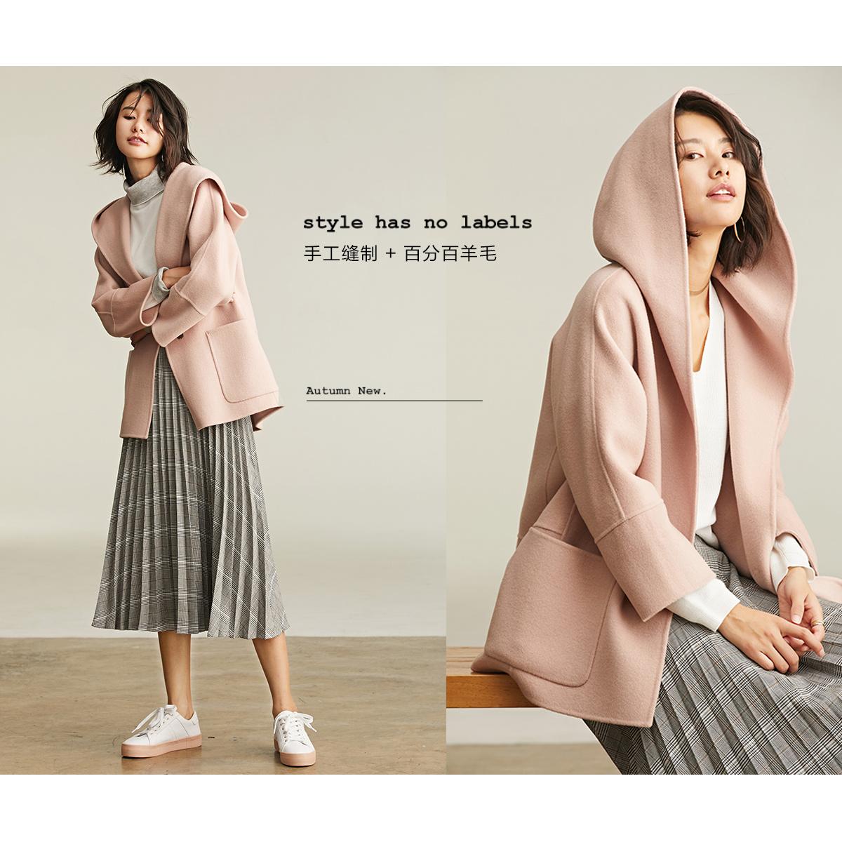 初棉2018新款羊毛宽松双面呢大衣女短款学生小个子连帽毛呢外套