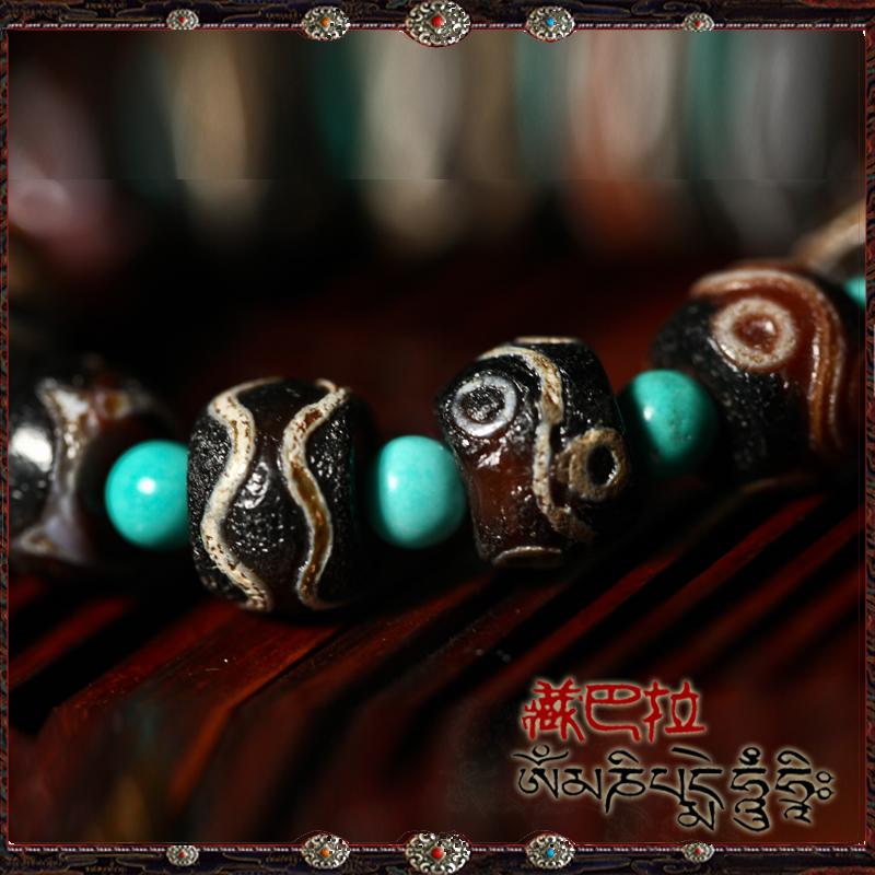 Ювелирные изделия и полуфабрикаты Природные шесть eyed Тигр дзи брызги подлинной старой много сокровищ Тибет бирюзовый браслет мужчин и женщин