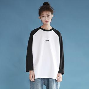 PROD情侣装T恤长袖2019新款黑白撞色学院宽松T恤女学生春夏装上衣