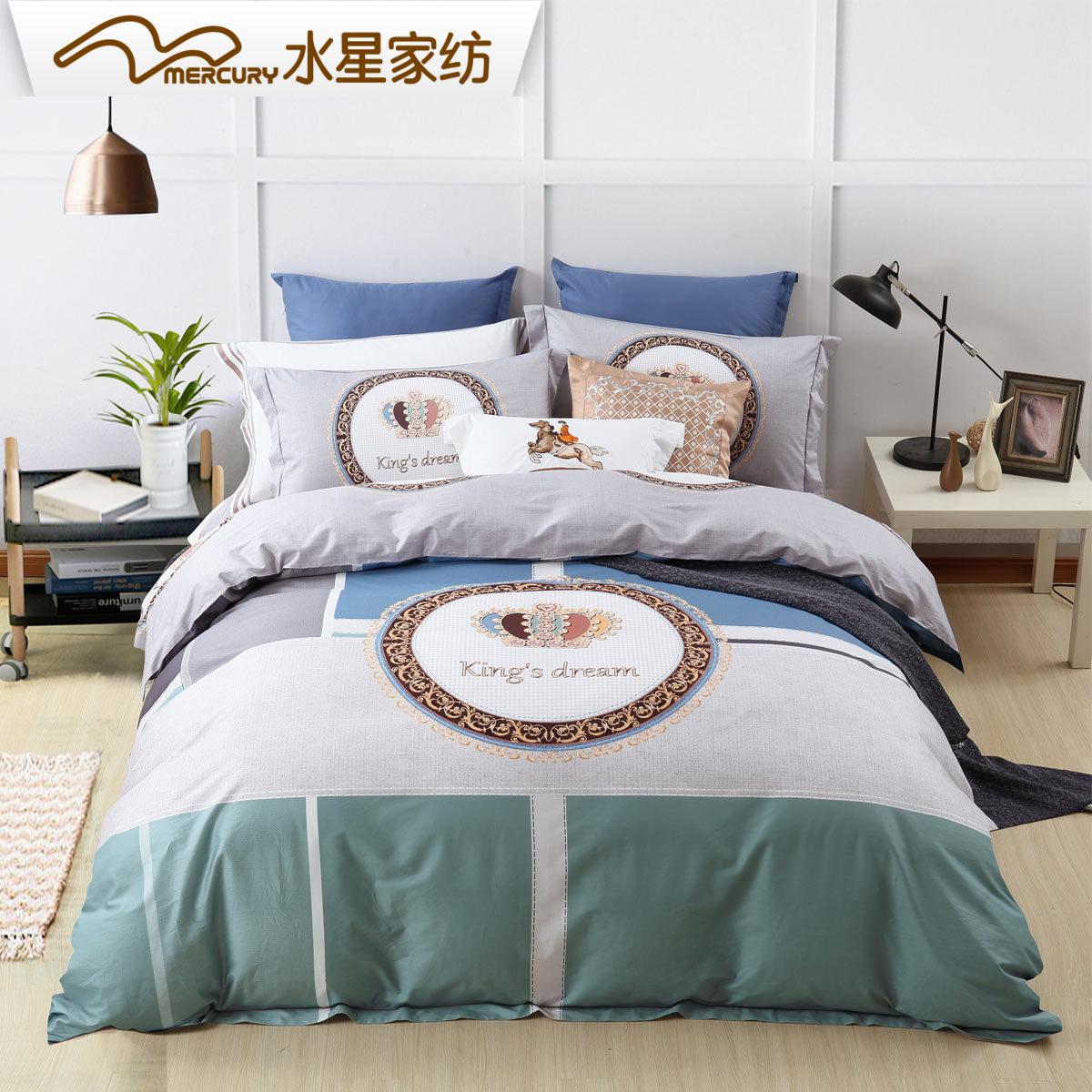 水星家纺全棉活性印花四件套1.8m简约床单被套格调印迹床上用品