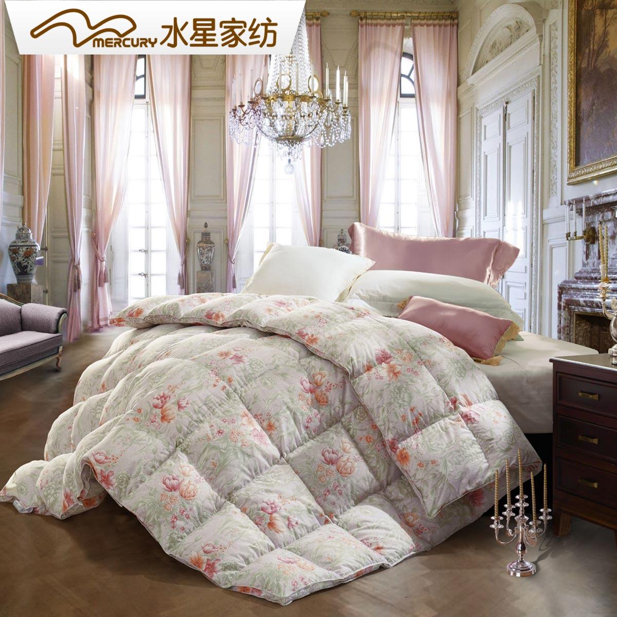 水星家纺95白鹅绒冬被加厚保暖双人羽绒被鹅绒冬被床上用品暖寐