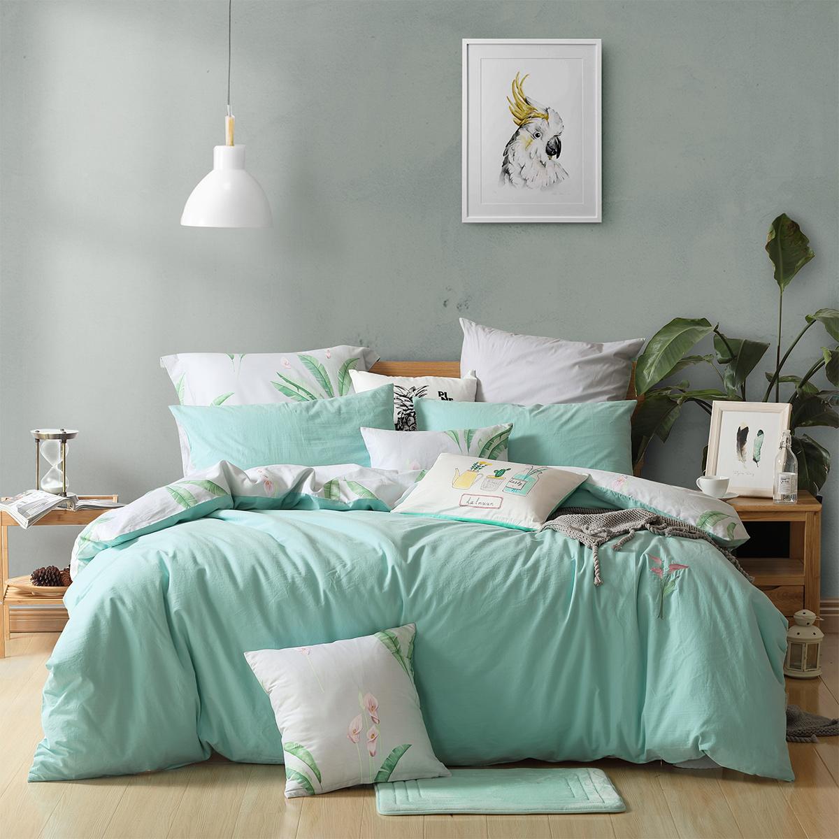 水星家纺水洗棉四件套纯棉全棉北欧简约被套床单床品1.8m简.风雅