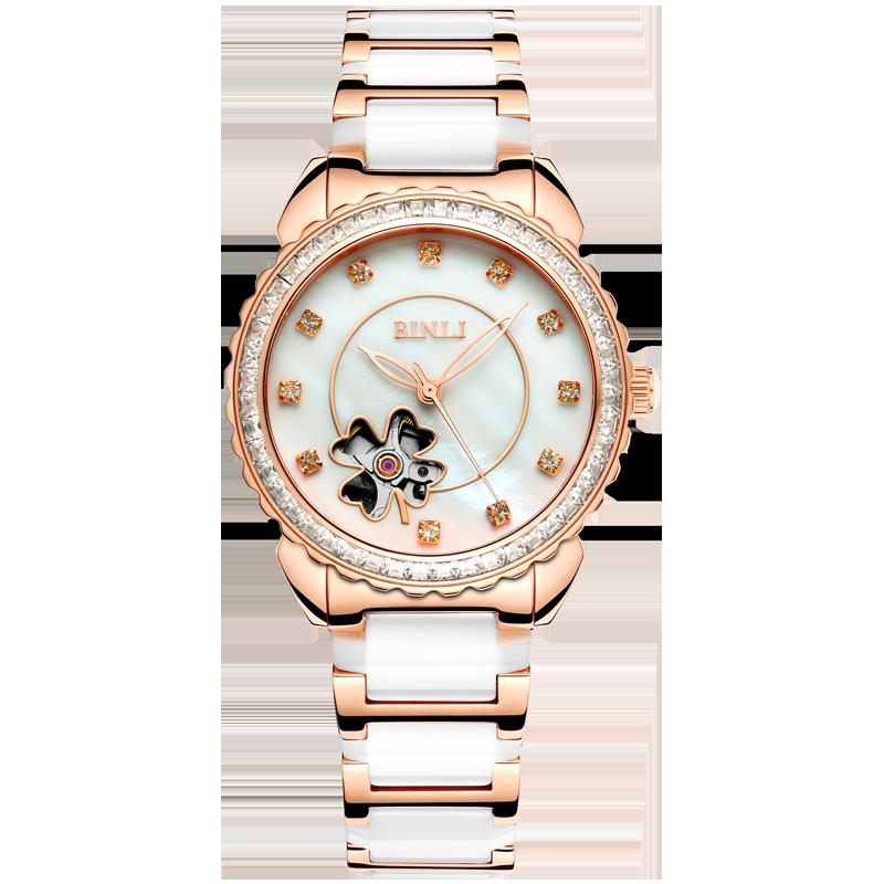 2018新款专柜正品宾利女士镂空机械表全自动手表防水陶瓷女表6031
