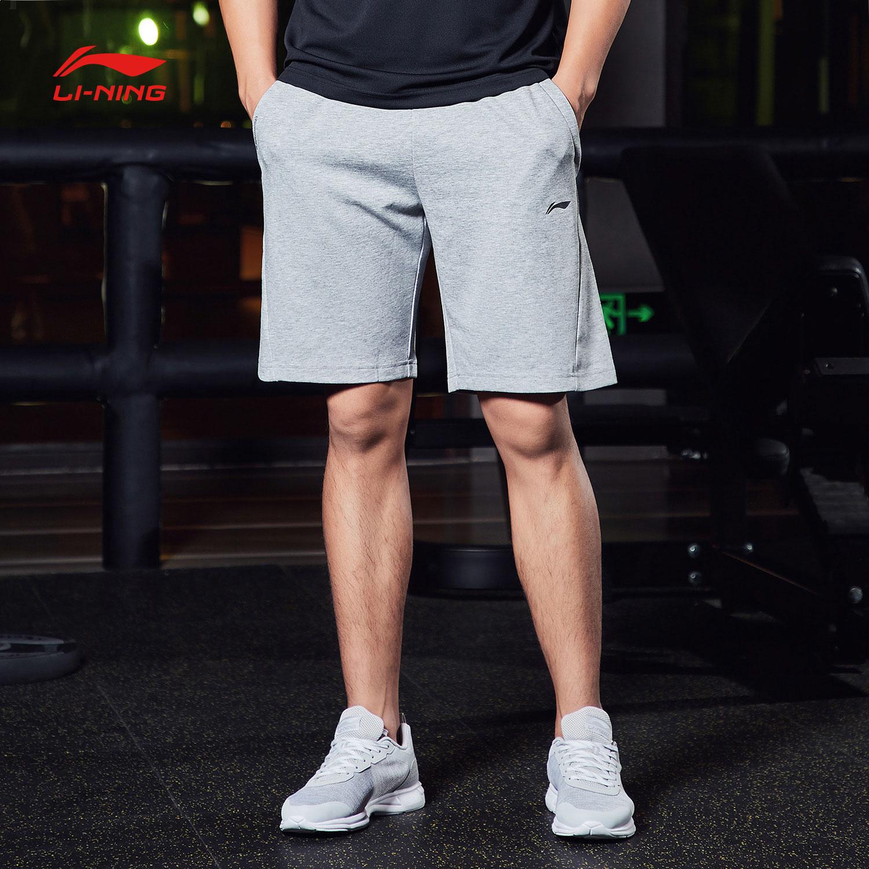 李宁短卫裤男士2018新款训练系列男装短装针织运动裤AKSN097