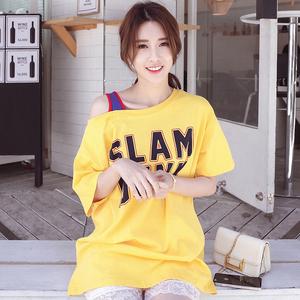 大版宽松t恤女漏肩字母短袖中长款下衣失踪韩版半袖夏季新款体恤