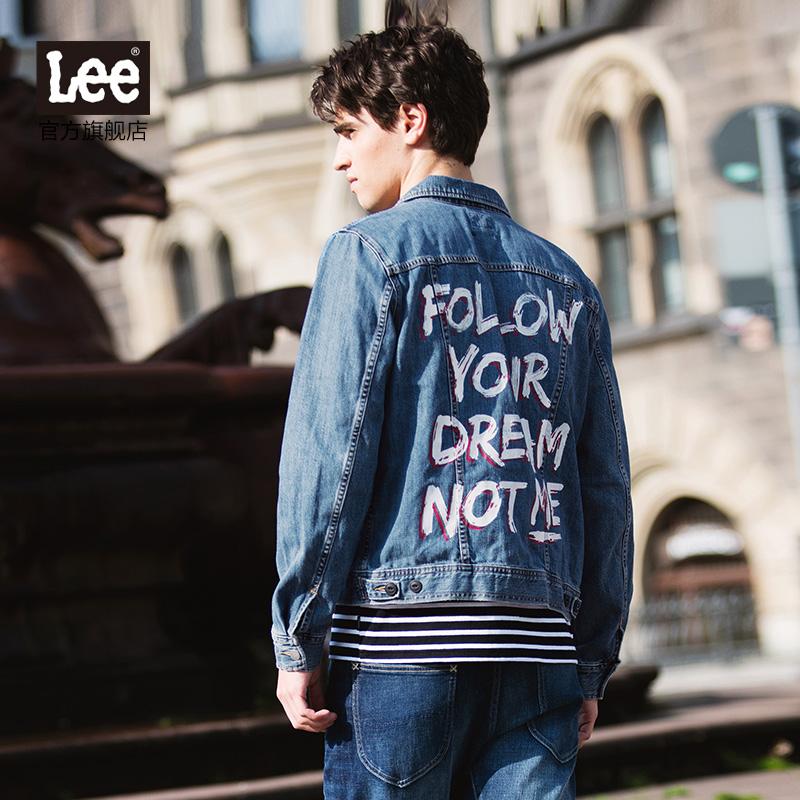 Lee男装 秋冬翻领后背印花长袖牛仔夹克L298542YW7FY