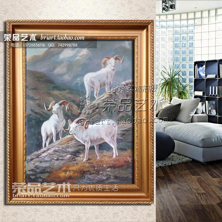 三阳开泰油画手绘客厅玄关装饰画动物油画竖式风景欧式挂画墙壁画