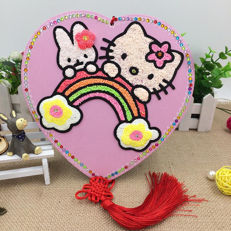儿童手工制作diy中国结黏土雪花珍珠彩泥粘土画公主魔