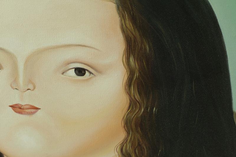【摆设.手绘画作】 后现代装饰绘画胖蒙娜丽莎布面手绘油画图片