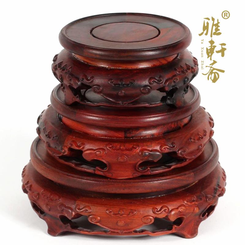 雅轩斋红木雕工艺品红酸枝木云头底座三件套2012042801