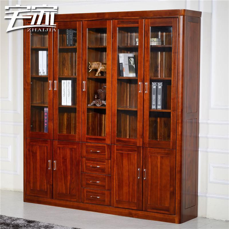 宅家缅甸全柚木五门书柜118五门书柜