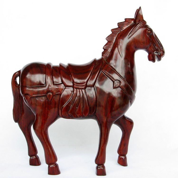 雅轩斋东阳木雕刻马摆件