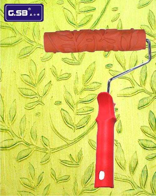 基士博印花质感涂料油漆9寸橡胶压花滚筒