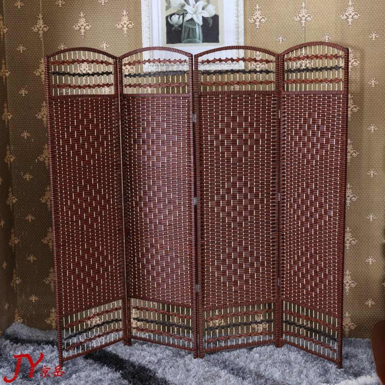 屏风隔断客厅 简约现代折叠移动屏风 藤编中式酒店办公折屏试衣间
