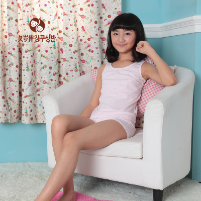 Aged with girls underwear summer new children's wear cotton I-type vest nine years and a half counters authentic