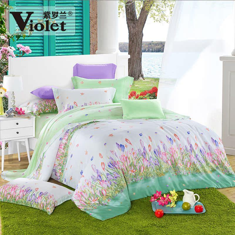 紫罗兰被套床单heni