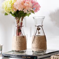 奇居良品田园ZAKKA风现代简约创意手工花插 蒙蒂麻绳玻璃花瓶H J