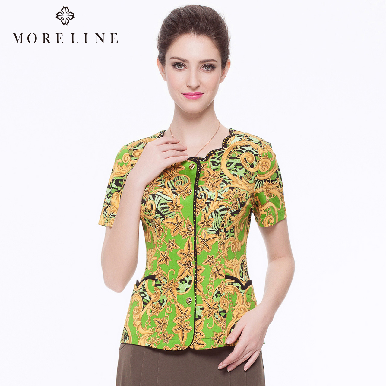 MORELINE沐兰品牌女装夏季通勤短袖修身显瘦印花衬衫6234502