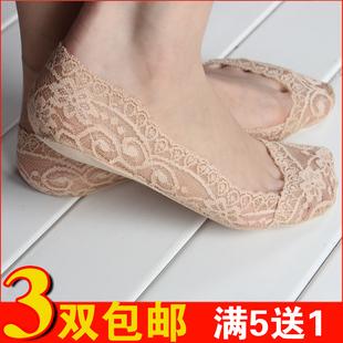 隐形袜船袜女春夏季韩国浅口蕾丝短袜薄款无痕冰丝袜不掉跟防滑袜