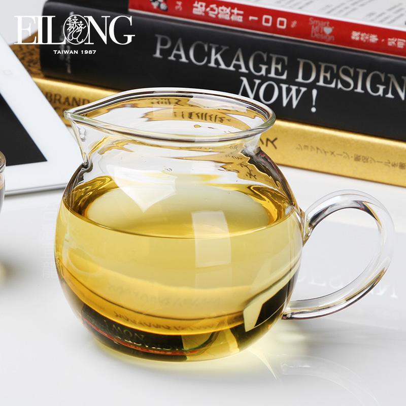 台湾宜龙玻璃茶具加厚耐热玻璃圆形大茶海