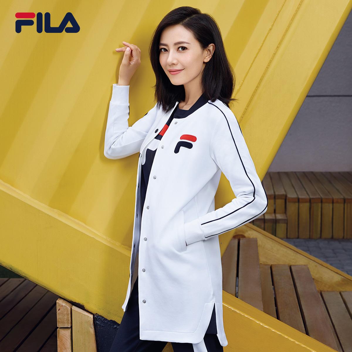 FILA斐乐女外套2018春季高圆圆同款中长款运动外套棒球服女