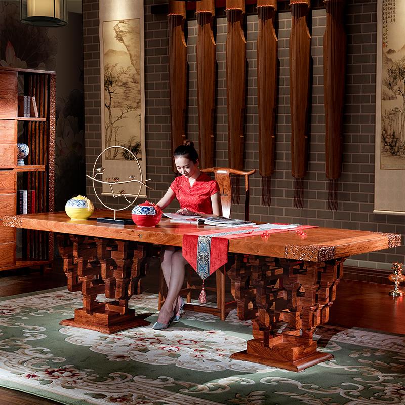 御王府中式实木书桌韵梨斗拱办公台