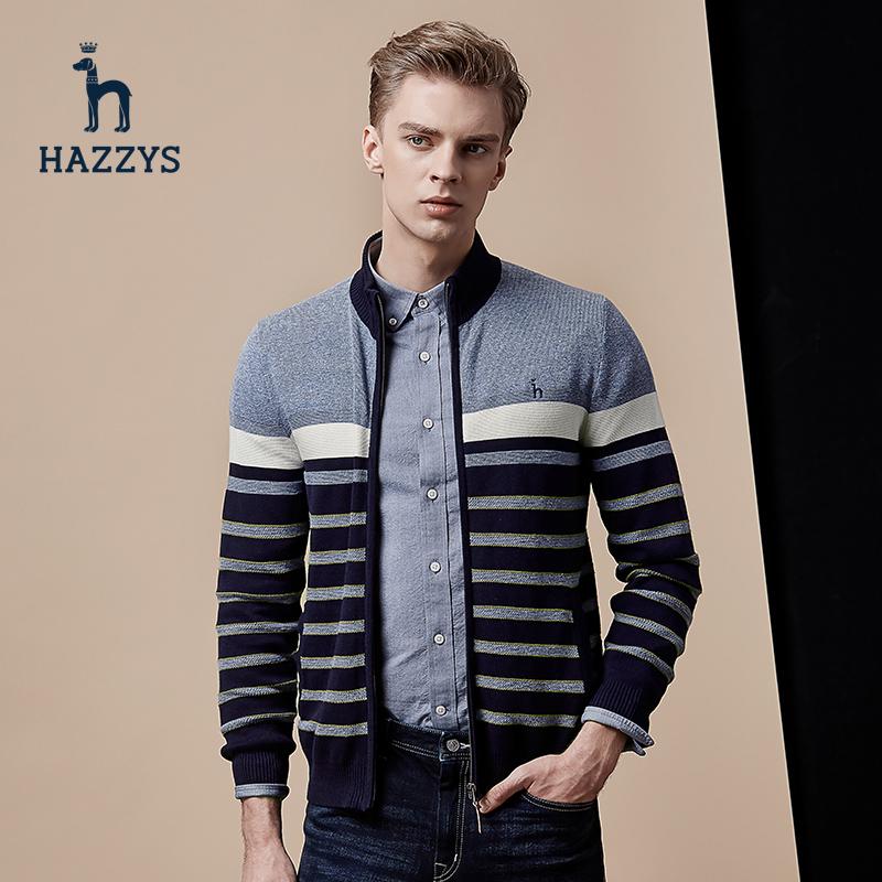 Hazzys哈吉斯秋季男士韩版条纹毛衣长袖英伦修身针织衫外套开衫
