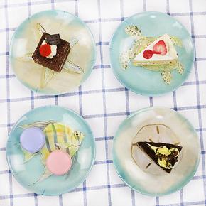 4件套创意密胺小碟子小盘子家用吐骨碟餐碟菜碟欧式餐具套装耐摔