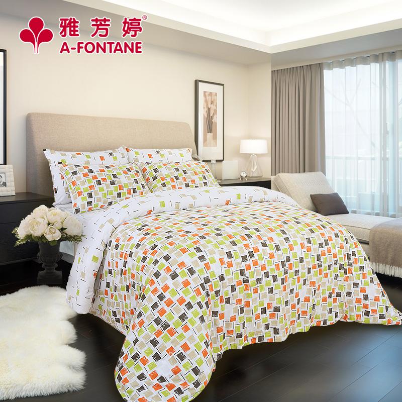 雅芳婷床上用品简约格子床上四件套T378
