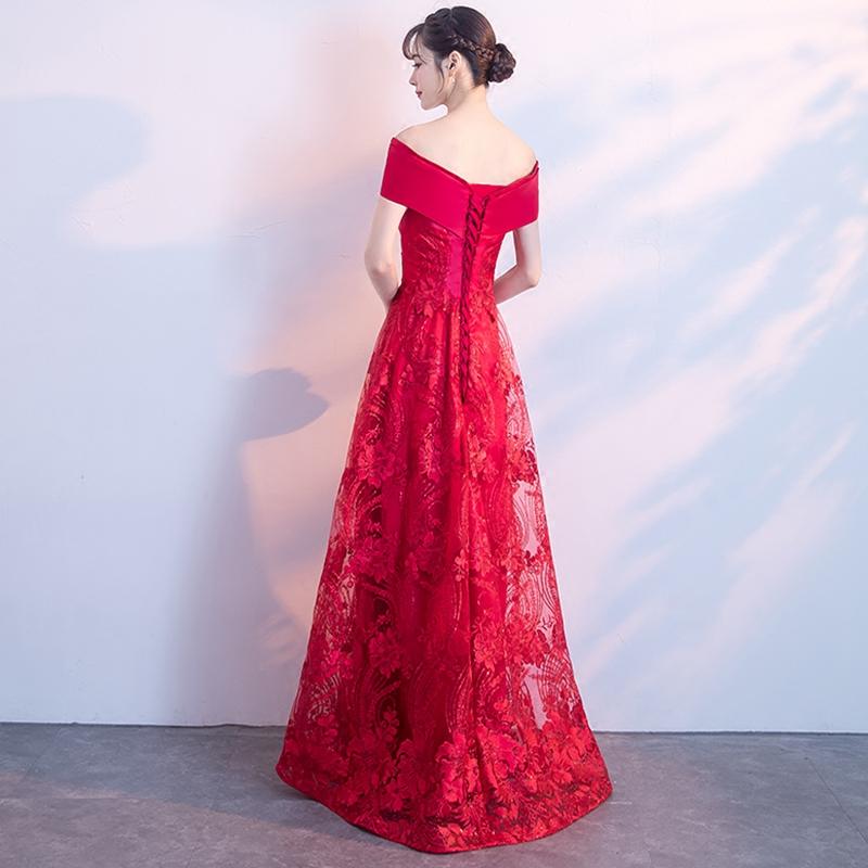 新娘敬酒服春秋季2018结婚新款红色婚纱晚礼服裙女时尚长款一字肩