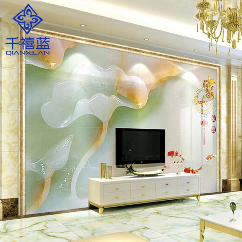 千禧蓝雕刻微晶石现代中式背景墙瓷砖