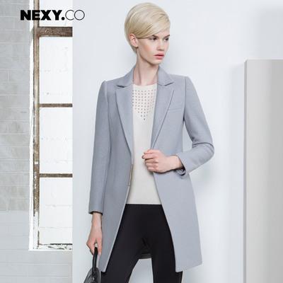 NEXY.CO-奈蔻百搭毛呢外套灰色干练呢子大衣女中长款羊毛大衣秋冬
